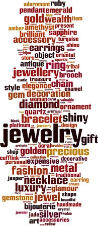 Jewelry word cloud concept. Collage made of words about jewelry. Vector illustration