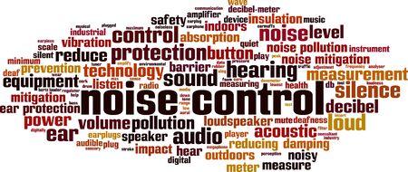 Concept de nuage de mot de contrôle du bruit. Collage composé de mots sur le contrôle du nise. Illustration vectorielle