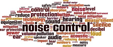 Noise control word cloud concept. Collage made of words about nise control. Vector illustration Ilustração