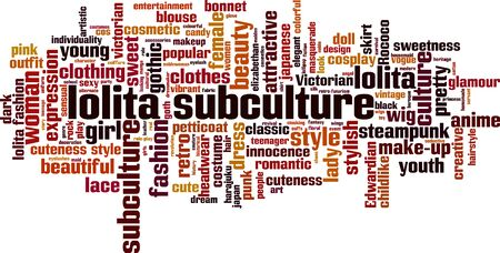 Lolita subculture word cloud concept. Collage made of words about Lolita subculture. Vector illustration