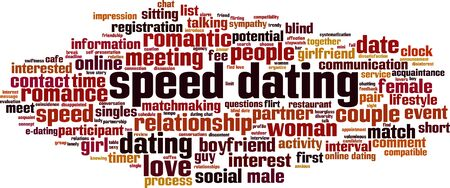 Speed dating word cloud concept. Collage made of words about speed dating. Vector illustration Illustration