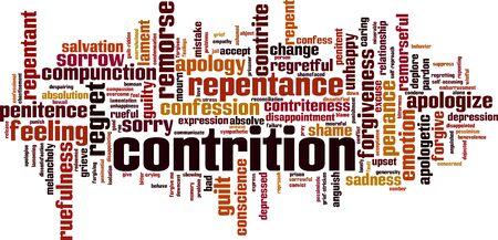 Concetto della nuvola di parola contrizione. Collage fatto di parole sulla contrizione. Illustrazione vettoriale