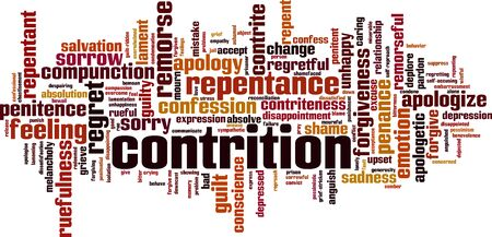 Contrition word cloud concept. Collage made of words about contrition. Vector illustration