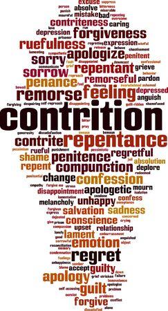 Concetto della nuvola di parola contrizione. Collage fatto di parole sulla contrizione. Illustrazione vettoriale Vettoriali