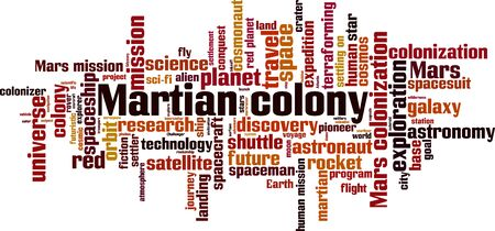 Martian colony word cloud concept. Collage made of words about martian colony. Vector illustration Illustration