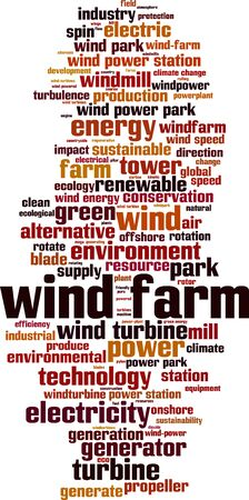 Wind farm word cloud concept. Collage made of words about wind farm. Vector illustration