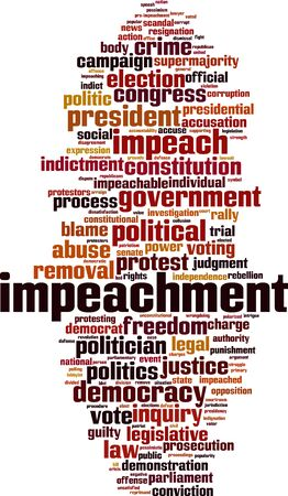 Impeachment cloud concept. Collage made of words about impeachment. Vector illustration Vektorové ilustrace