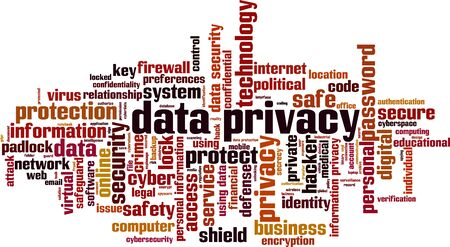 Data privacy word cloud concept. Collage made of words about data privacy. Vector illustration