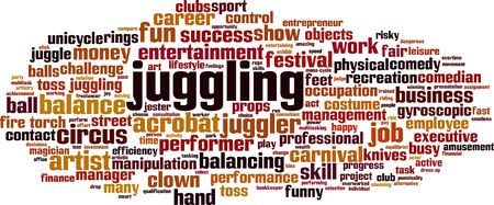 Juggling word cloud concept. Collage made of words about juggling. Vector illustration