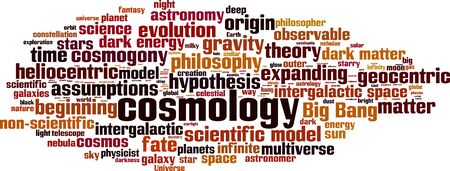 Cosmology word cloud concept. Collage made of words about cosmology. Vector illustration  イラスト・ベクター素材