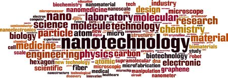 Nanotechnology word cloud concept. Collage made of words about nanotechnology. Vector illustration 向量圖像