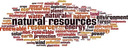 Natural resources word cloud concept. Collage made of words about natural resources. Vector illustration