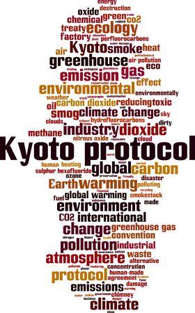 Concepto de nube de word de protocolo de Kyoto. Collage de palabras sobre el protocolo de Kioto. Ilustración vectorial Ilustración de vector