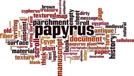 Papyrus word cloud concept. Collage made of words about papyrus. Vector illustration