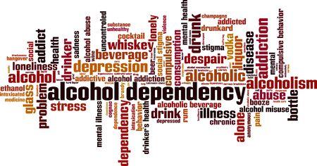 Concepto de nube de word de dependencia del alcohol. Collage de palabras sobre la dependencia del alcohol. Ilustración vectorial Ilustración de vector