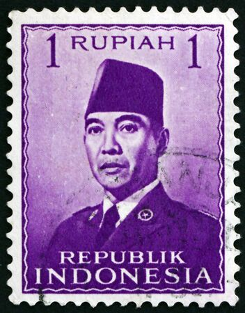 INDONESIA - CIRCA 1951: a stamp printed in Indonesia shows President Sukarno, 1st President of Indonesia, circa 1951 Editorial