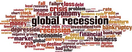 Concept de nuage de mot récession mondiale. Collage fait de mots sur la récession mondiale. Illustration vectorielle Vecteurs