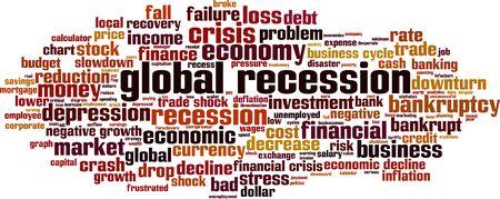 Concepto de nube de word de recesión global. Collage de palabras sobre la recesión mundial. Ilustración vectorial Ilustración de vector