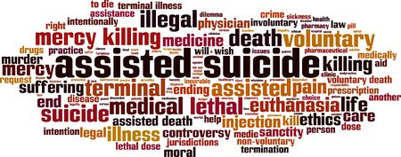 Assisted suicide word cloud concept. Collage made of words about assisted suicide. Vector illustration