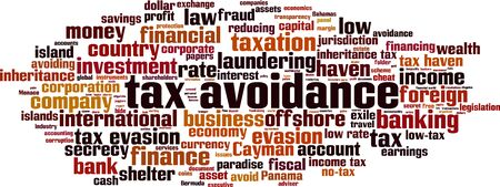 Tax avoidance word cloud concept. made of words about tax avoidance. Vector illustration