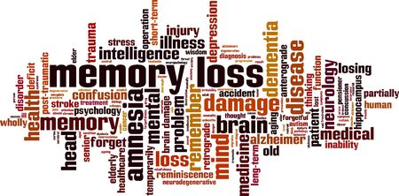 Memory loss word cloud concept. Collage made of words about memory loss. Vector illustration Ilustração
