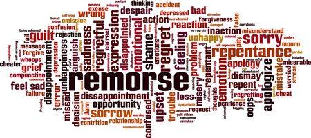 Remorse word cloud concept. Collage made of words about remorse. Vector illustration