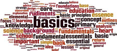 Basics word cloud concept. Collage made of words about basics. Vector illustration  Ilustração