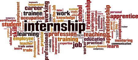 Internship word cloud concept. Collage made of words about internship. Vector illustration