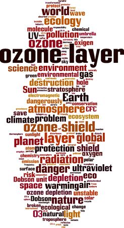 Ozone layer word cloud concept. Collage made of words about ozone layer. Vector illustration