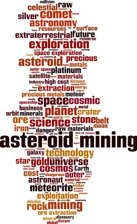 Asteroid mining word cloud concept. Collage made of words about asteroid mining. Vector illustration