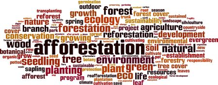 Afforestation word cloud concept. Collage made of words about afforestation. Vector illustration Ilustrace
