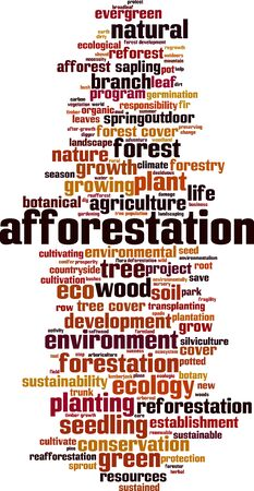 Afforestation word cloud concept. Collage made of words about afforestation. Vector illustration Ilustração