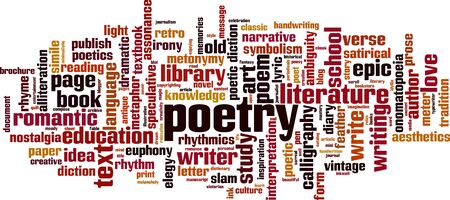 Poetry word cloud concept. Collage made of words about poetry. Vector illustration