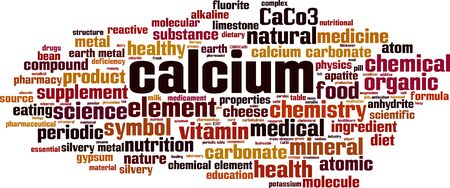 Calcium word cloud concept. Collage made of words about calcium. Vector illustration