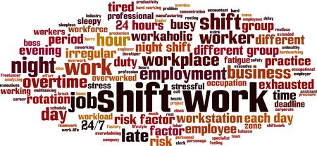 Shift work word cloud concept. Collage made of words about shift work. Vector illustration Illustration
