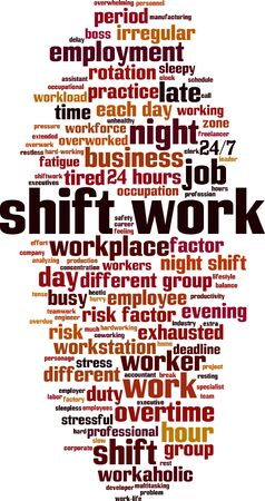 Shift work word cloud concept. Collage made of words about shift work. Vector illustration 일러스트