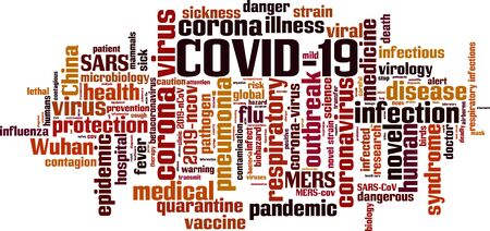 Collage made of words about COVID-19. 向量圖像