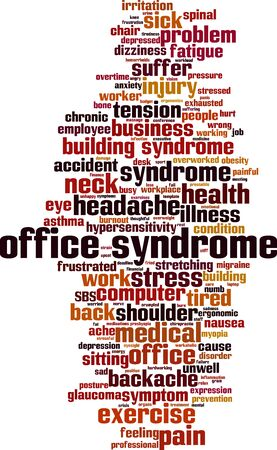 Office syndrome word cloud concept. Collage made of words about office syndrome. Vector illustration Иллюстрация