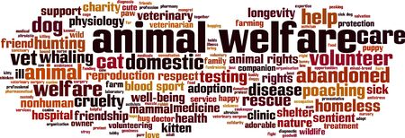 Animal welfare word cloud concept. Collage made of words about animal welfare. Vector illustration