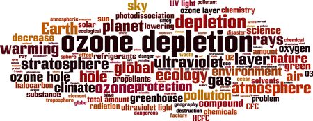 Ozone depletion word cloud concept. Collage made of words about ozone depletion. Vector illustration