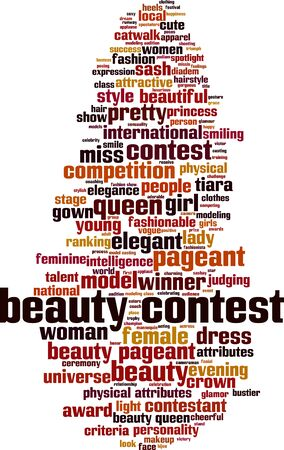 Beauty contest word cloud concept. Collage made of words about beauty contest. Vector illustration