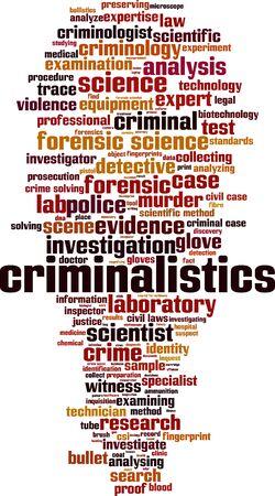Criminalistics word cloud concept. Collage made of words about criminalistics. Vector illustration  Illustration