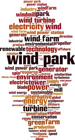 Wind park word cloud concept. Collage made of words about wind park. Vector illustration
