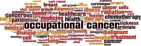 Occupational cancer word cloud concept. Collage made of words about occupational cancer. Vector illustration