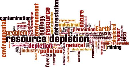 Resource depletion word cloud concept. Collage made of words about resource depletion. Vector illustration