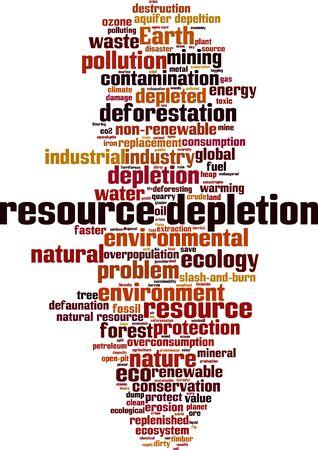 Resource depletion word cloud concept. Collage made of words about resource depletion. Vector illustration Illustration