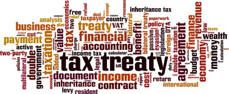 Tax treaty word cloud concept. Collage made of words about tax treaty. Vector illustration