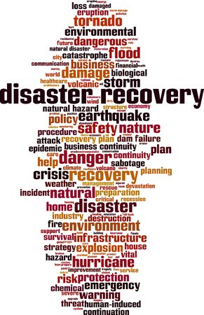 Disaster recovery word cloud concept. Collage made of words about disaster recovery. Vector illustration
