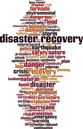 Noodherstel woord wolk concept. Collage gemaakt van woorden over herstel na rampen. vector illustratie