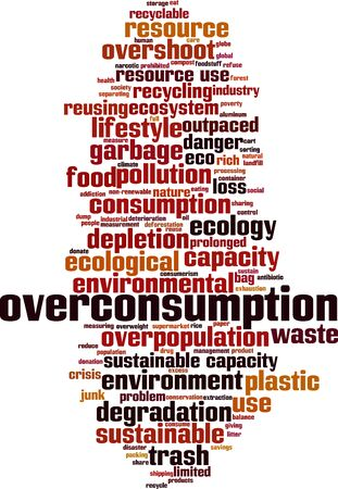 Overconsumption word cloud concept. Collage made of words about overconsumption. Vector illustration